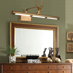 Rustic Modern LED Antler Vanity Lighting in Brushed Brass/Black