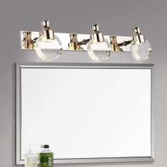 Contemporary 3-Light LED Vanity Light with Bubble Crystal Glass Shade