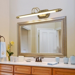 Mid Century Modern LED Bathroom Vanity Ligting in Brass, Light Angle Adjustable