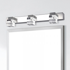 Contemporary 3-Light LED Vanity Light in Chrome with Crystal Glass Squares