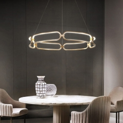 "Modern Style 17""Wide LED Ring Chandelier in Gold/Nickel for Living Room, Dining Room, Bedroom"