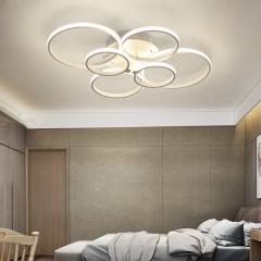 LED Modern Lighting 4-Ring 6-Ring 8-Ring Semi Flush Mount for Kitchen Living Room Dining Room