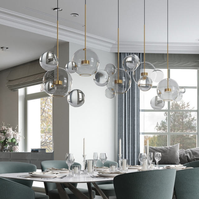 Modern Soap Bubble Clear Globe Glass 3 Light Dimmable LED Multi Light Pendant Lamp for Kitchen Island Dining Room Light