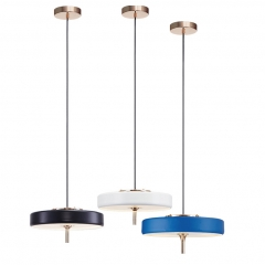 Modern Style Round LED Pendant Lamp in Black/White/Blue for Kitchen Island Dining Room Restaurant