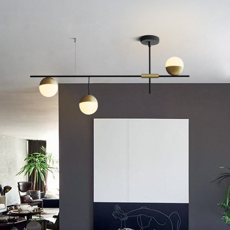 Mid Century Modern 3 Light Linear Ceiling Light In Black And Brass With Glass Globes For Dining Room Kitchen Island Restaurant