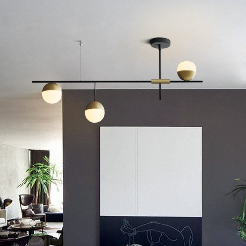 Mid-Century Modern 3 Light Liner Ceiling Light in Black and Brass with Glass Globes for Dining Room Kitchen Island Restaurant