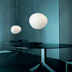 Modern Style Glo-Ball Suspension Pendant Light with Hand-blown Opaline Glass Shade