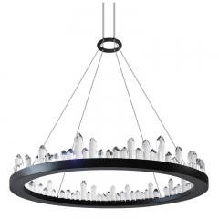 "Modern Crystal Style 15 3/4"" Wide LED Round Chandelier in Black with K9 Crystal Strips for Dining Room Bedroom or Living Room"