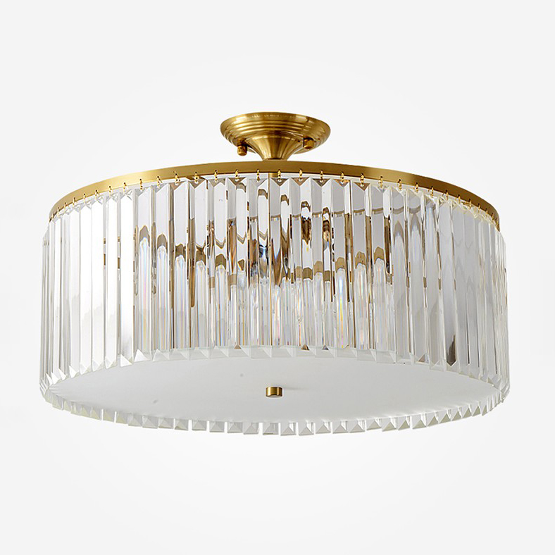 Mid Century Modern Round Crystal Semi Flush Mount In Gold