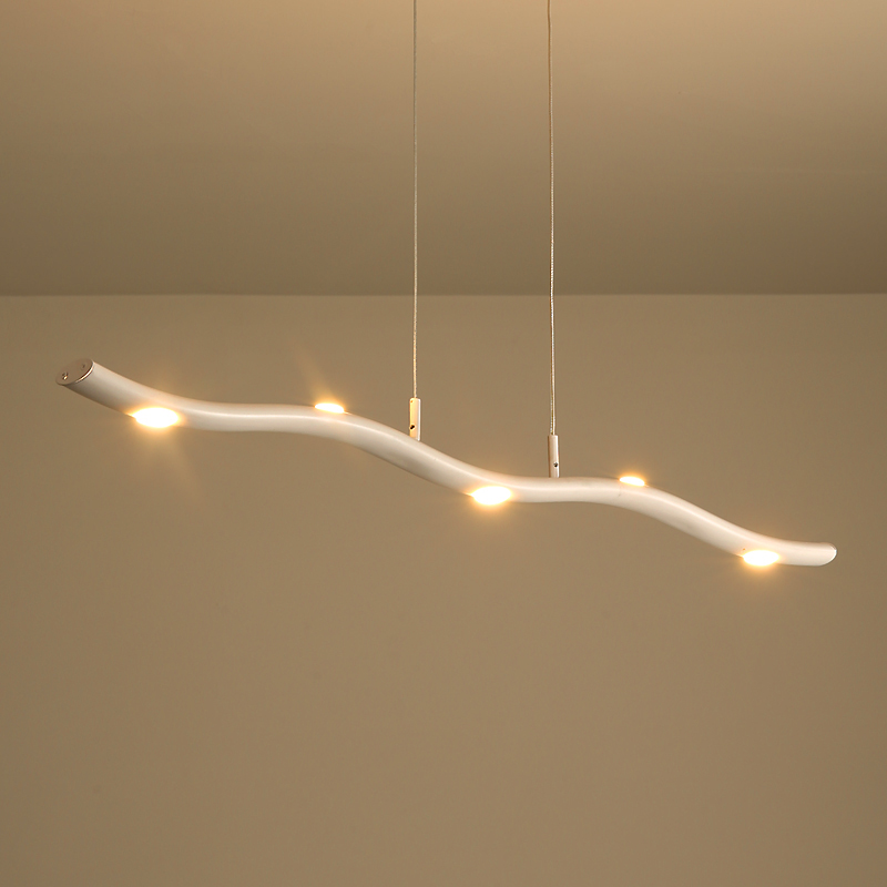 Modern Style Led 15w Wavy Linear Chandelier In White For Kitchen Island Dining Table Lighting Lights