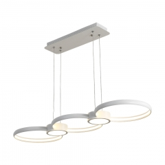 Modern White Three Rings LED Liner Chandelier for Long Dining Table Restaurant Lighting