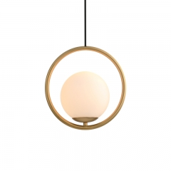 Modern Style 1 Light Brass Circle Ring Pendant Light with Hand-blown Glass Shade