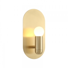 Mid Century Modern 1 Light Brass Wall Sconce for Hallway Bedroom Lighting