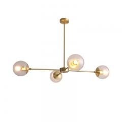 Mid Century Modern 4 Light Alto Compass Chandelier in Brass with Clear Glass Globes