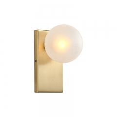 Mid Century Modern Rectangle Brass Wall Sconce with Opal Globe Shade