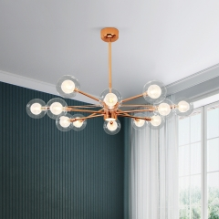 Modern Style Rose Gold Sputnik Chandelier with Hand-blown Glass Globes