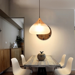 Modern Style 1 Light Frosted Glass Pendant Lamp with Golden Holder for Kitchen Island Dinging Room Restaurant