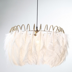 Northern Lighting 1 Light Feather Chandelier in Brass for Bedroom Living Room