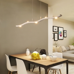Modern Style LED 15W Wavy Chandelier in White for Kitchen Island