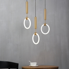"Modern LED Lighting 11.81""W Ring Hanging Pendant in Gold for Bedside Restaurant Showcase Lighting"