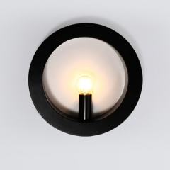 Contemporary Style 1 Light Circle Wall Sconce in White/Black