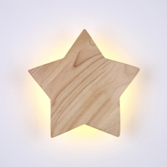 Modern LED Lighting Wooden Star Shaped Wall Lamp for Kid's Room Lighting