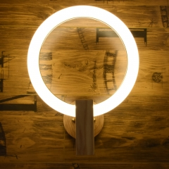 Modern LED Lighting Circle Wall Sconce with Wooden Holder Warm White