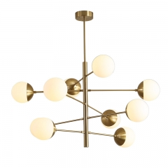 Mid Century Modern 8/10 Light Tortora Brass Chandelier with Opal Blown Globes for Dinging Table Living Room Restaurant
