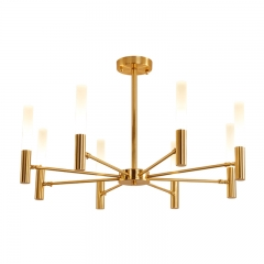 Modern Style 6/8 Light Frosted Glass Chandelier in Gold/Black for Dining Table Restaurant Bar Lighting