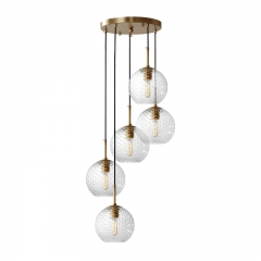 Modern Style 3/5 Light Hanging Pendant Light with Hammer Glass Shade