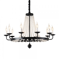 Modern 8/10 Lights Clear Crystal Candle Chandelier in Black for Foyer Dining Room Restaurant Lighting