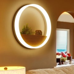 Chic Modern Design Circular LED Wall Sconce with Wooden Tray, 18W Natural White