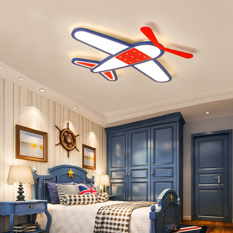 Modern Style Cool Kids Jet Light Flush Mount Ceiling For Boys Room Playroom Led Lights