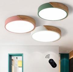 Dimmable Modern Minimalist LED Round Shaped Wood & Metal & Acrylic Flush Mount Ceiling Light