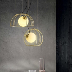 Mid-century Modern 1 Light Golden Cage Hanging Pendant Light with Hand-Blown Glass Globe for Bar Restaurant Kitchen Island