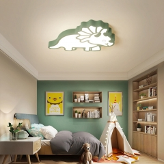 Modern Cool Kid Lighting Dinosaur Flush Mout Ceiling Lamp for Boys and Girls Nursery Room Playroom