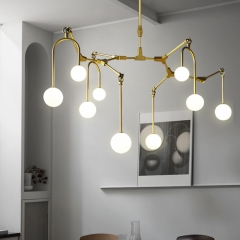 Mid Century Modern 9 Light Branching Chandelier in Gold for Foyer Restaurant Showroom Lighting