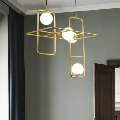 Mid Century Modern Rectangle Combination Suspension in Gold for Bar Restaurant and Showroom