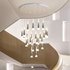 Modern Style Multi-light Starwell LED Hanging Pendant for High Ceiling Foyer Staircase and Restaurant