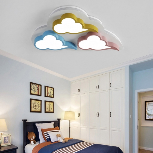 Modern Style Baby Room Led Clouds Flush Mount Ceiling Fixture For Nursery