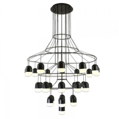 Modern Black 25 Lights Large LED Round Chandelier for Foyer Height Ceiling Staircase and Showroom
