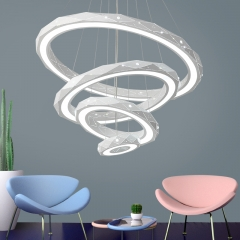 Modern Style LED 4-Tier Circles Suspension Chandelier for Dining Table Living Room and Restaurant