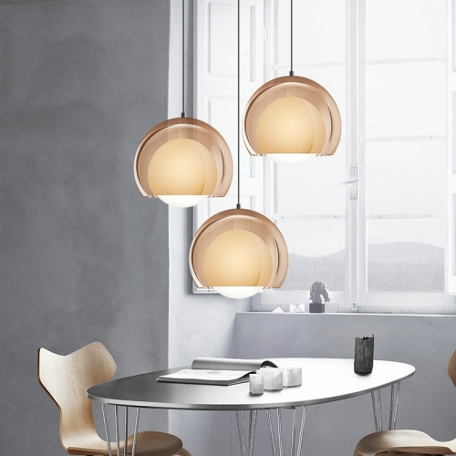 Modern Style 1 Light Hand-blown Glass Globe Pendant for Dining Room Bar and Restaurant