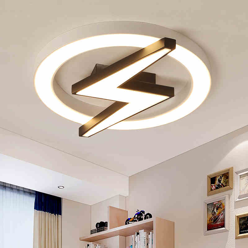 Modern Style Dimmable Led Lightning Shield Flush Mount Ceiling Light For Teen Boy S Room Kid S