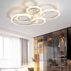Modern LED Lighting Dimmable Circles Semi Flush Mount in White for Living Room Bedroom and Hallway