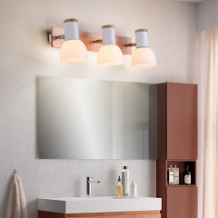 Modern Style Wooden 3 Light Wall Sconce Vanity Light for Bathroom Room