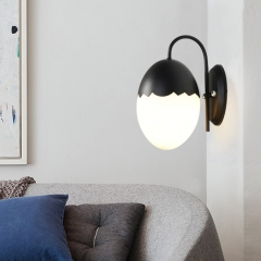 Modern Style 1 Light Oval Egg Wall Sconce in Black for Hallway Kid's Room and Restaurant