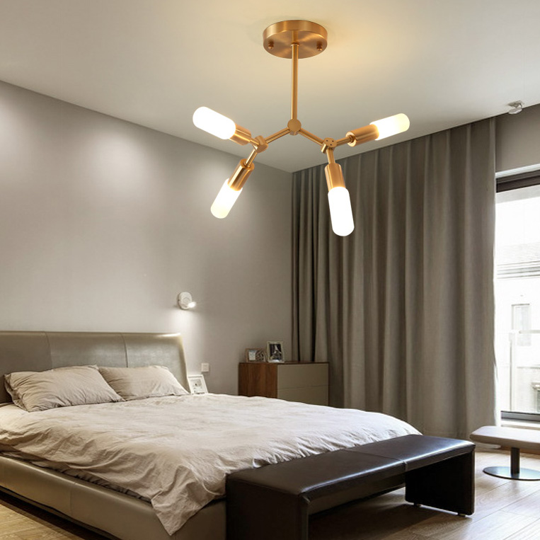 Modern Style 4 Light Brass Semi Flush Mount Ceiling Light