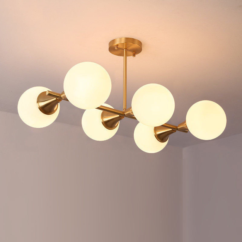 Modern Style 6 Light Semi Flush Mount In Brass With Clear
