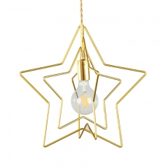 Modern Style 1 Light Brass Pentagram Pendant Light for Living Room Restaurant